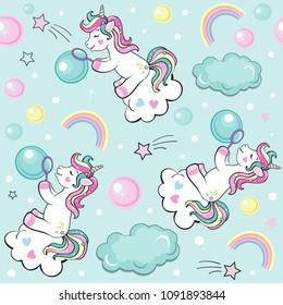 A beautiful unicorn blowing soap bubbles seamless pattern