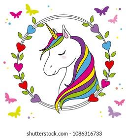 beautiful unicorn card, unicorn head inside a frame of hearts