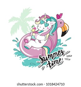 A beautiful unicorn floats on a pink circle and an inscription summer time