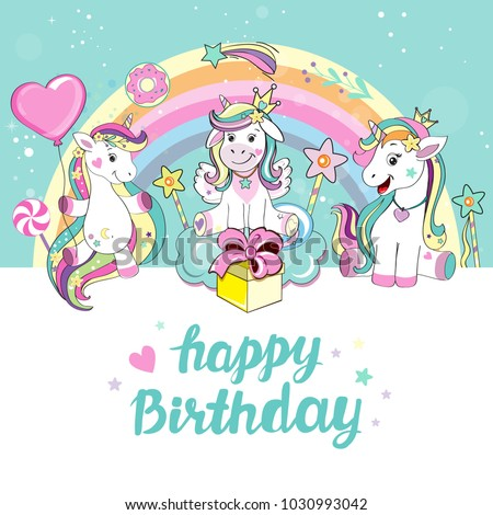 Beautiful Unicorn Happy Birthday Card Stock Vektorgrafik Lizenzfrei