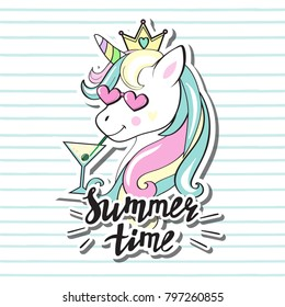 Beautiful unicorn head with lettering summer time