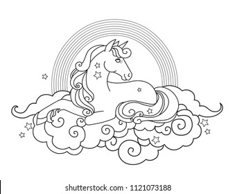 Beautiful unicorn lying on clouds. Vector illustration for coloring book