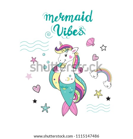 beautiful unicorn mermaid and