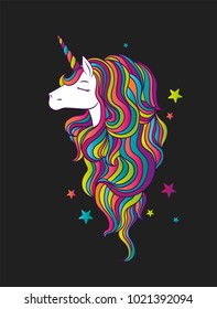A beautiful unicorn with a multicolored mane. A fabulous animal. Vector illustration for a postcard, poster or print for clothes.