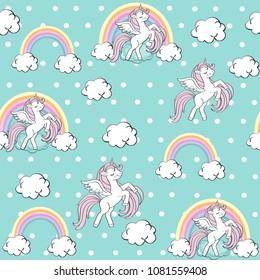 Beautiful unicorn on a blue background seamless pattern