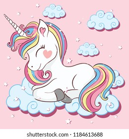 Beautiful unicorn on clouds with stars illustration, vector.