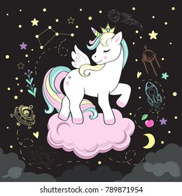 beautiful unicorn pop art and elements of space on a black background