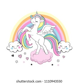 Beautiful unicorn with a rainbow on a white background