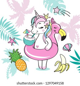 A beautiful unicorn with a swimming ring of flamingos and palm leaves