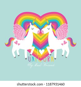 Beautiful unicorn vector.Heart rainbow illustration.Print for t-shirt or sticker. Romantic hand drawing illustration for children.Baby shower card.