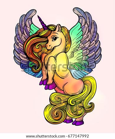 Beautiful Unicorn Wings Vector Drawing Fantastic Stock Vector