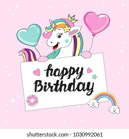 beautiful unicorns with a card happy birthday
