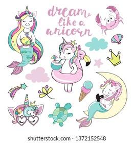 Beautiful unicorns mermaids collection on white background