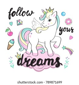beautiful unicorns on the clouds with lettering follow your dreams