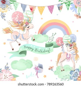 Beautiful unicorns set, collection of Happy Birthday clipart. Cute unicorns with balloons, rainbow, ribbon, clouds, festive hanging flags and flowers