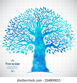 Beautiful Unique vector watercolor ethnic tree of life