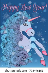 A beautiful unusual unicorn with a lush blue mane and snowflakes woven into it. Vector illustration for children's things, cards, textiles. Magic unicorn, a character of fairy tales