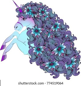 A beautiful unusual unicorn with a lush purple mane and flowers woven into it. Vector illustration for children's things, cards, textiles. Magic unicorn, a character of fairy tales
