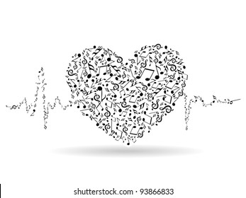 A beautiful valentine card with musical heart shape and heart beats on white isolated background for Valentines Day and other occasions.