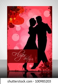 Beautiful Valentines Day flyer or banner design with dancing couple silhouette on floral and heart shapes abstract background in red color. EPS 10, vector illustration.