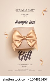 Beautiful Valentine's Day greeting flyer or poster. Top view on beige gift box and golden bow. Vector illustration