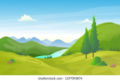 Beautiful valley landscape with green hills, river and mountains.