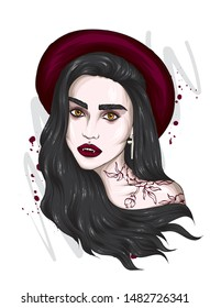 Beautiful vampire girl in a stylish hat. Long hair. Hipster. Carnival costume, halloween, party. Vector illustration for a card or poster, print on clothes. Portert.