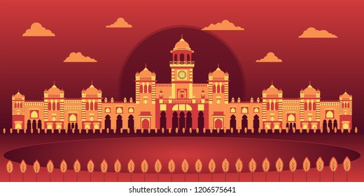 A beautiful vector art of landscape view of Islamia College Peshawar khyber pakhtunkhwa Pakistan. Most historic college of Pakistan and subcontinent founded and inaugurated by Quaid E Azam.