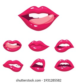 Beautiful vector arts. Icon of vector mouth. Naughty girl's mouths.