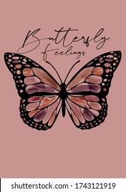 Beautiful vector Artwork of Butterfly with handwritten wording