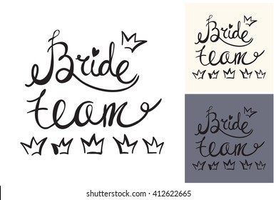 Beautiful vector attractive fashion wedding bride team. Hand drawn graphic bride team. Artistic fashion, style, beauty element. Isolated element on white, gray background