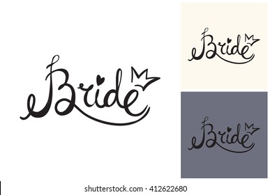 Beautiful vector attractive fashion wedding bride sign. Hand drawn graphic bride sign. Artistic fashion, style, beauty element. Isolated element on white, gray background