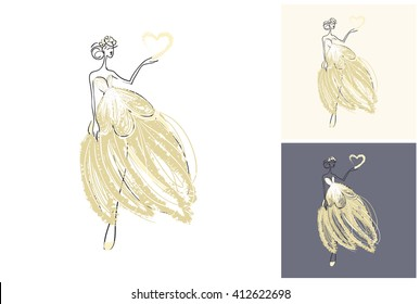 Beautiful vector attractive fashion wedding bride. Hand drawn graphic bride. Artistic fashion, style, beauty element. Isolated element on white, gray background