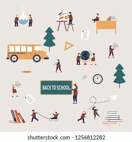 Beautiful vector back to school pattern concept featuring teacher and students activities,girls and boys dressed in school uniform,flat design style,vector cartoon illustration.