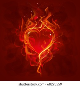 beautiful vector background on Valentine's Day with burning heart
