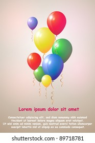 Beautiful Vector Balloons Background with Copy-space