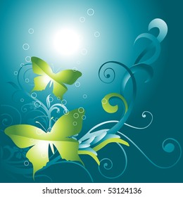 beautiful vector butterfly on floral background