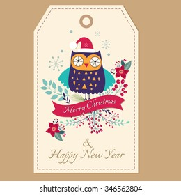 Beautiful vector Christmas illustration with cute owl