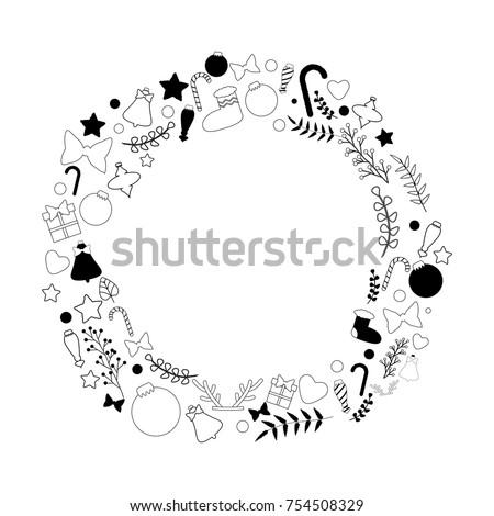 Beautiful Vector Christmas Wreath Black White Stock Vector Royalty