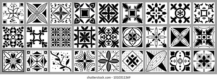 beautiful vector collection of seamless floral and geometrical patterns with black and white colors. great for tile, pottery woks, ceramic, textile, packaging, wrapping paper and other prints