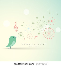 beautiful vector cute bird singing