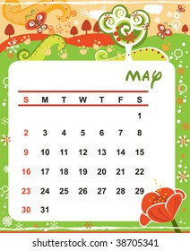 Beautiful vector decorative Frame for calendar - May