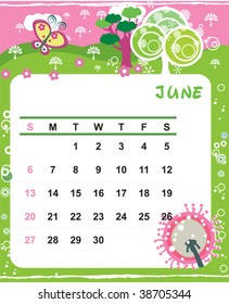 Beautiful vector decorative Frame for calendar - June