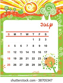 Beautiful vector decorative Frame for calendar - July