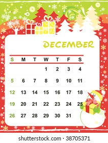 Beautiful vector decorative Frame for calendar - December