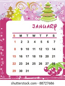Beautiful vector decorative Frame for calendar - January