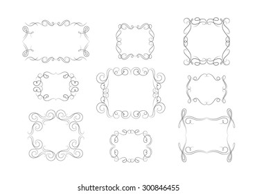 Beautiful Vector Decorative Frames. Vintage Flourishes Set.