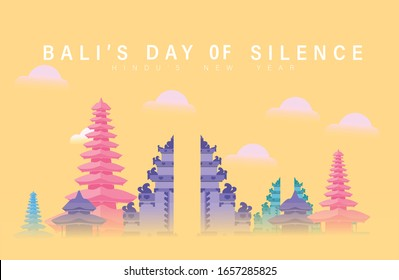 Beautiful Vector Design For Celebration Of Bali's Silence Day, Flat Poster Vector Template For Nyepi Ceremony In Bali Indonesia, Beautiful Bali Pura Or Temple In Day Of Silence Flat Design