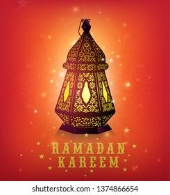Beautiful vector design of a traditional Ramadan lamp with 'Ramadan Kareem' message in English. Ramadan festive wishes greeting card illustration.