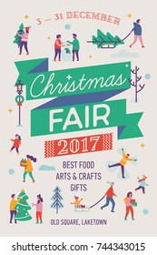 Beautiful vector detailed 'Christmas Fair' poster template with abstract winter and holiday activities. People carrying xmas trees, doing snow angels, ice skating, etc.